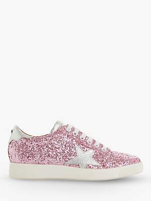 Dune Edris Glitter Lace Up Star Trainers, Pink