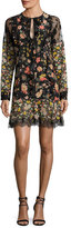 RED Valentino Split-Neck Long-Sleeve Floral-Print Ruffle Lace Dress
