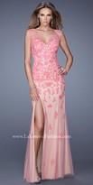 La Femme Floral Overlay Jersey Prom Dress