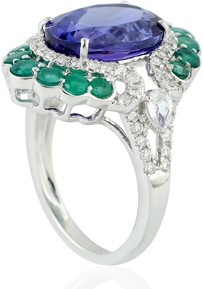 Artisan 18Kt White Gold Indian Diamond Emerald Blue Sapphire Tanzanite Women Ring