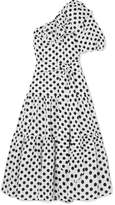Lisa Marie Fernandez Arden Ruffled One-shoulder Polka-dot Linen Dress