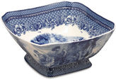 AA Importing 9 Albine Square Bowl, Blue/White