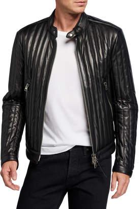 Tom Ford Men's Vertical Channel Leather Racer Jacket