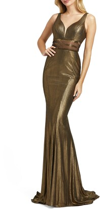 Mac Duggal Metallic Trumpet Gown