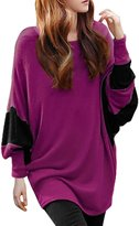 Allegra K Women Color Block Batwing Sleeves Loose Tunic Top M