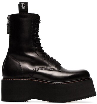 R 13 black Double Stack lace-up leather boots