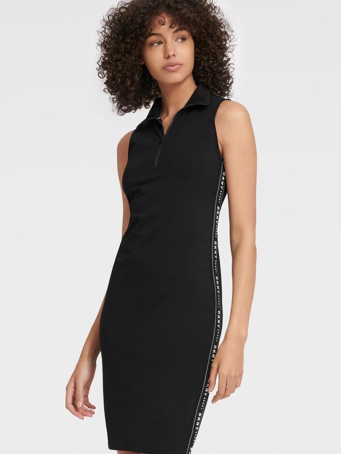 DKNY Women's Mock-neck Zip-front Dress - Black - Size M