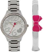 Betsey Johnson Women's Silver-Tone Bracelet Watch & Bangle Bracelet Set 36mm BJ00607-01