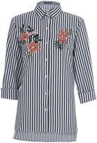 Quiz Navy and White Stripe Shirt