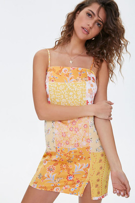 Forever 21 Floral Vented-Hem Satin Dress