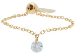 PERSÉE Heart-charm Diamond & 18kt Gold Chain Ring - Yellow Gold