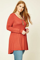 Forever 21 Plus Size Crochet-Paneled Top