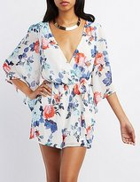 Charlotte Russe Floral Chiffon Bell Sleeve Romper