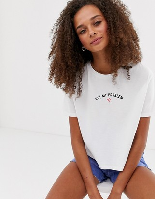 New Look not my problem slogan boxy crop tee in white
