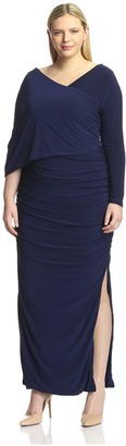 Melissa Masse Plus Women's One Sleeve Ruched Dress