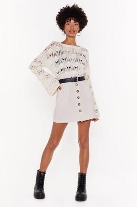 Nasty Gal Womens Button My Own Linen Mini Skirt - Cream - L
