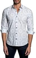 Jared Lang Trim Fit Geo Print Sport Shirt