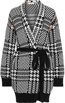 Max Mara Malizia Belted Houndstooth Wool And Cashmere-blend Cardigan