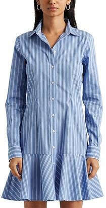 Lauren Ralph Lauren Striped Cotton Drop-Waist Shirtdress (Blue/White Multi) Women's Clothing