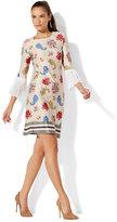 New York & Co. Pleated-Sleeve Sheath Dress