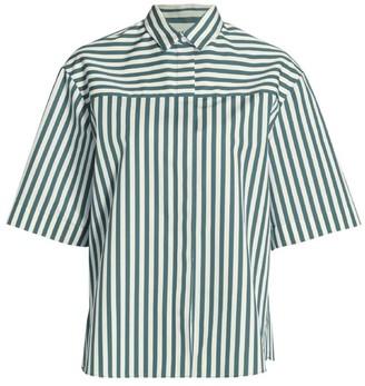 Akris Punto Stripe Short-Sleeve Boyfriend Poplin Shirt