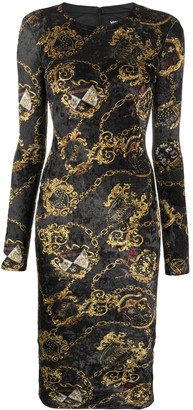 Versace Jeans Couture Chain Print Velvet Dress