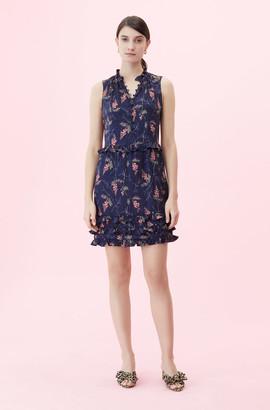 Rebecca Taylor Sprig Floral Print Jacquard Dress