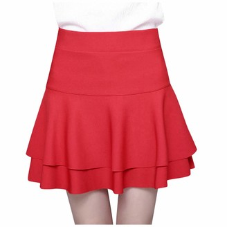Celucke Ladys Elastic High Waist Safety Pants Skirt Casual Solid Double-Layer Base Skirt Red