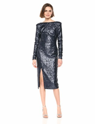 Dress the Population Women's Natalie Long Sleeve Stretch Sequin Midi Sheath Dress