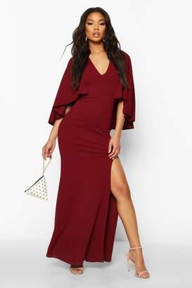 boohoo V Neck Caped Maxi Dress