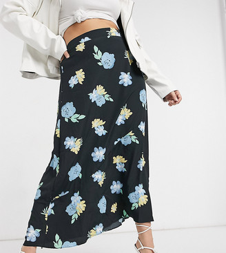 Glamorous Curve midi skirt in bold floral
