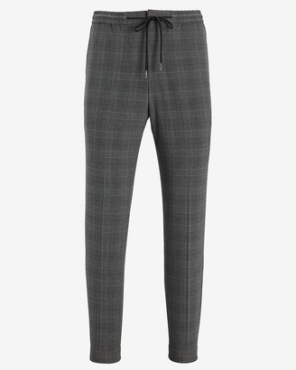 Express Slim Gray Plaid Luxe Comfort Soft Drawstring Suit Pant