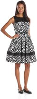 Julian Taylor Women's All Over Print Fit and Flare Dress with Illusion Neckline, Ivory/Black