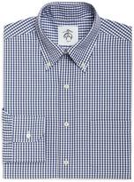 Brooks Brothers White and Blue Mini Gingham Button-Down Shirt