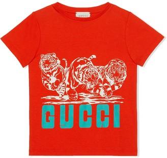 Gucci Kids tiger print logo T-shirt