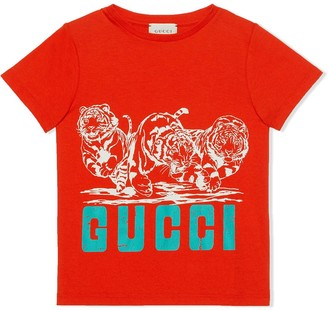 Gucci Kids tiger print logo T-shirt