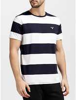 Gant Contrast Barstripe Cotton T-shirt, Evening Blue