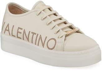 Mario Valentino Valentino By Dalia Leather Logo Platform Sneakers