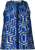 Cacharel sheer geometric pattern shirt - women - Silk/Nylon/Polyester - 40