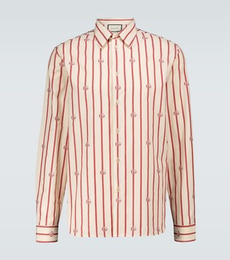 Gucci Double G striped cotton shirt