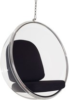 The Well Appointed House Modern Clear Suspended Bubble Chair With Black Seat Cushion & Silver Hardware