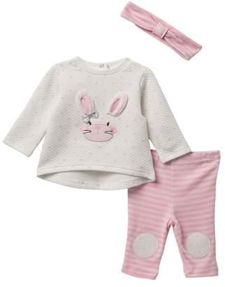 Little Me Bunny Sweatshirt, Leggings, & Headband - 3-Piece Set (Baby Girls)