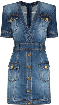 Balmain Short Stonewashed Denim Dress