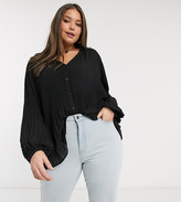 Vero Moda Curve pleated blouse with balloon sleeves in black