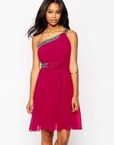 Little Mistress One Shoulder Dress with Embellished Straps