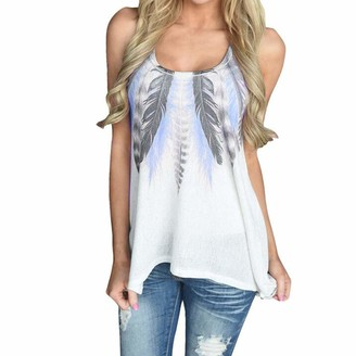 RODMA Tops for Women Women Feather Sleeveless Shirts Blouse Casual Tank Tops T-Shirt(XX-Large