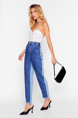 Nasty Gal Womens Two-Tone for One Distressed Mom Jeans - Blue - 10