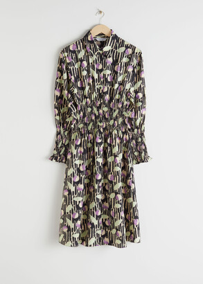 And other stories Smocked Plaid Midi Shirt Dress