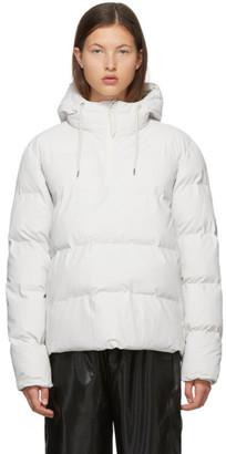 Rains White Half-Zip Anorak Jacket