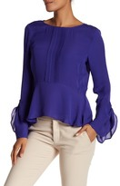 Nicole Miller Sold Silk Bell Sleeve Blouse